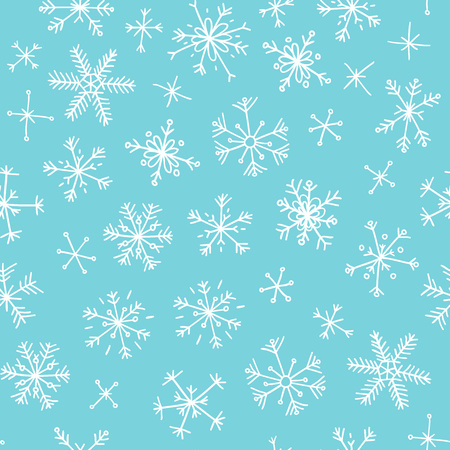 Hand drawn seamless pattern of snow flakes 向量圖像