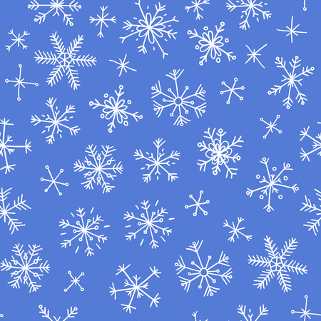 Hand drawn seamless pattern, Abstract doodle drawing of snowflakes