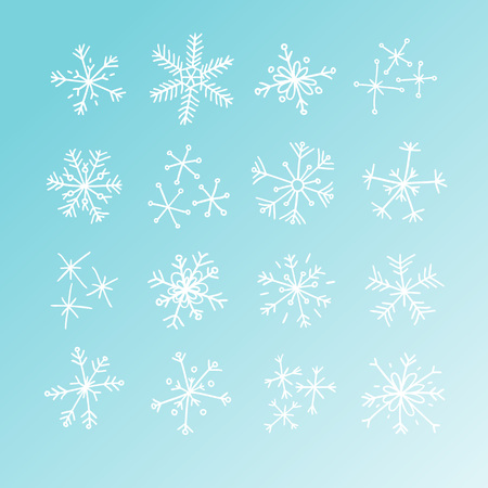 Hand drawn set of snowflakes. Abstract doodle drawing snow. Vector art illustration