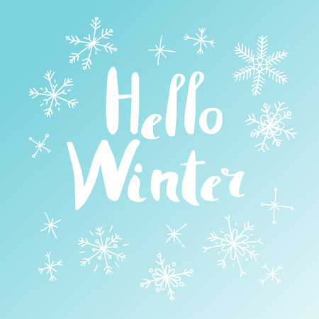 Hand drawn winter card. Abstract doodle drawing snowflake. Vector art illustration snow and text 向量圖像