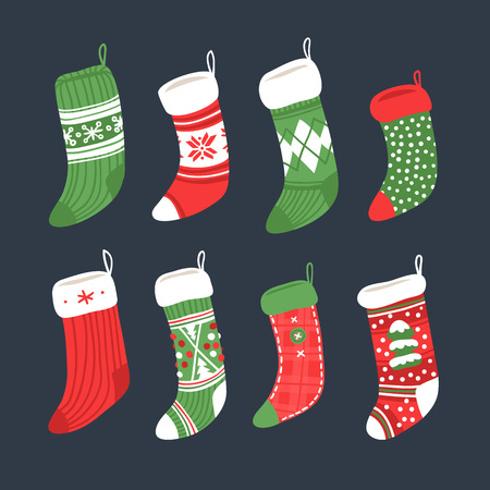 Hand drawn set of Christmas socks for gifts. Holidays background. Abstract doodle drawing. Vector art illustration Illustration