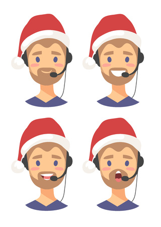 Set of emoji customer support phone operator in Christmas hat. Callcenter worker with headset. Cartoon vector illustration man agent Çizim