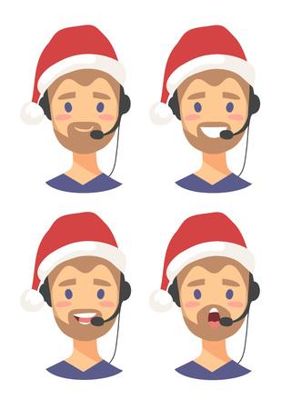 Set of emoji customer support phone operator in Christmas hat. Callcenter worker with headset. Cartoon vector illustration man agent Illustration