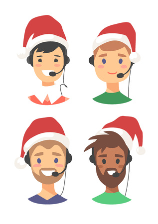 Portrait of smiling male customer support phone operator in Christmas hat. Callcenter worker with headset. Cartoon vector illustration man agent Çizim
