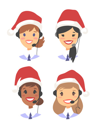 Portrait of smiling female customer support phone operator in Christmas hat. Callcenter worker with headset. Cartoon vector illustration woman agent
