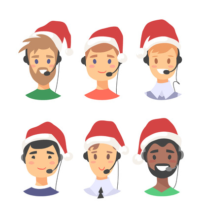 Portrait of smiling male customer support phone operator in Christmas hat. Callcenter worker with headset. Cartoon vector illustration man agent Illustration