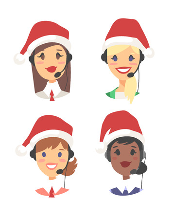 Portrait of smiling female customer support phone operator in Christmas hat. Callcenter worker with headset. Cartoon vector illustration woman agent Stock Vector - 88543502