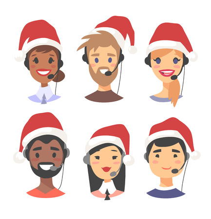 Portrait of smiling customer support phone operator in Christmas hat. Callcenter worker with headset. Cartoon vector illustration agent Stock Vector - 88543500