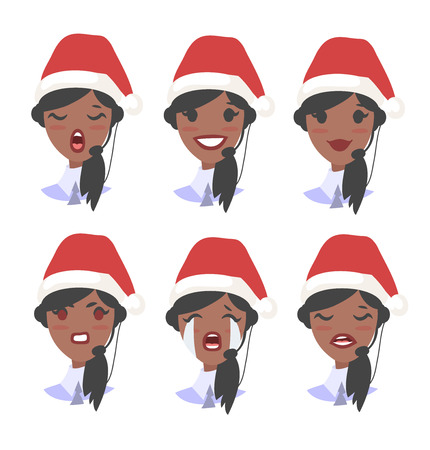 Set of emoji customer support phone operator in Christmas hat. Callcenter worker with headset. Cartoon vector illustration african american woman agent