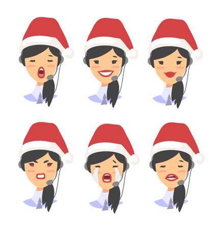 Set of emoji customer support phone operator in Christmas hat. Callcenter worker with headset. Cartoon vector illustration asian woman agent Illustration
