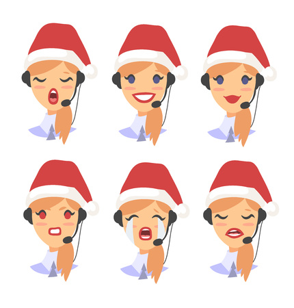 Set of female emoji customer support phone operator in Christmas hat. Callcenter worker with headset. Cartoon vector illustration asian woman agent Stock Vector - 88543499