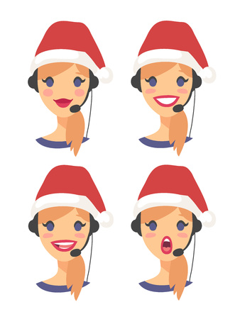 Set of female emoji customer support phone operator in Christmas hat. Callcenter worker with headset. Cartoon vector illustration woman agent