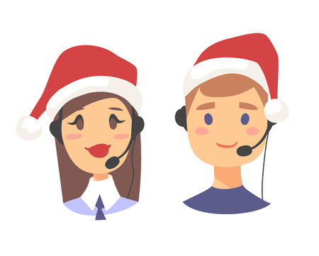 Portrait of smiling customer support phone operator in Christmas hat. Callcenter worker with headset. Cartoon vector illustration agent Stock Vector - 88543509