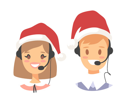 Portrait of smiling customer support phone operator in Christmas hat. Callcenter worker with headset. Cartoon vector illustration agent Stock Vector - 88543504