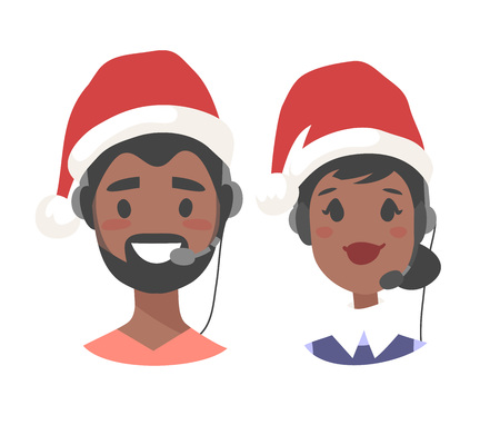 Portrait of smiling customer support phone operator in Christmas hat. Callcenter worker with headset. Cartoon vector illustration agent Stock Vector - 88543506