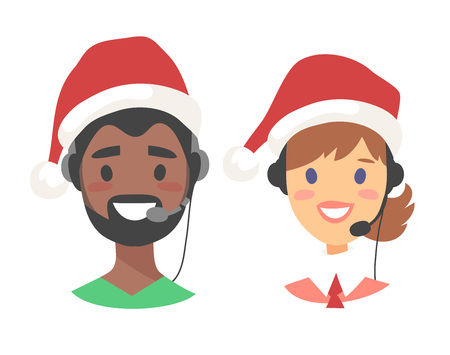 Portrait of smiling customer support phone operator in Christmas hat. Callcenter worker with headset. Cartoon vector illustration agent Stock Vector - 88543539