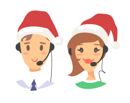 Portrait of smiling customer support phone operator in Christmas hat. Callcenter worker with headset. Cartoon vector illustration agent Stock Vector - 88543536