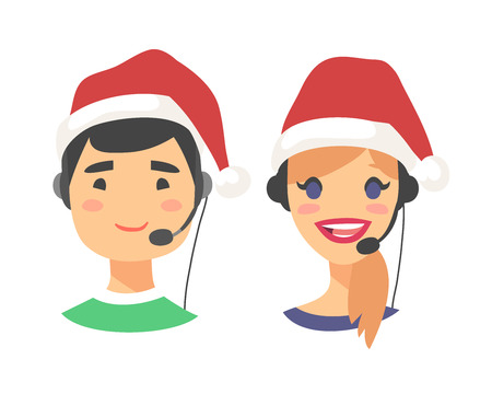 Portrait of smiling customer support phone operator in Christmas hat. Callcenter worker with headset. Cartoon vector illustration agent Stock Vector - 88543538