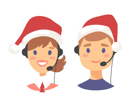 Portrait of smiling customer support phone operator in Christmas hat. Callcenter worker with headset. Cartoon vector illustration agent