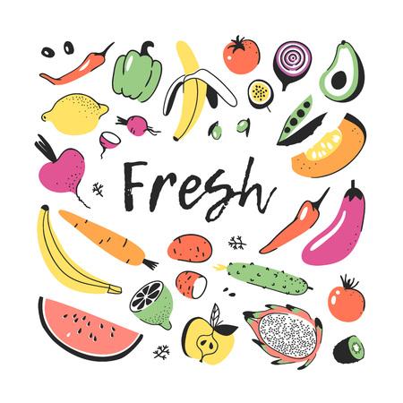 야채와 과일의 손으로 그려진 된 집합입니다. 벡터 예술적 드로잉 음식입니다. 채식주의 그림 호박, 감자, 고추, 부 끄 러운, 가지, 토마토, 오이, 아보