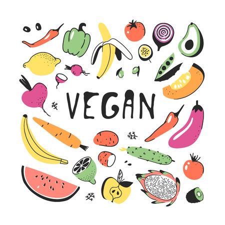 Hand drawn set of vegetables and fruits. Vector artistic drawing food. Vegan illustration pumpkin, potato, pepper, beetroot, eggplant, tomato, cucumber, avocado, carrot, lemon, banana, watermelon Illustration