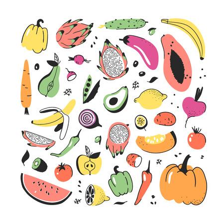 Hand drawn set of vegetables and fruits. Vector artistic drawing food. Vegan illustration pumpkin, potato, pepper, beetroot, eggplant, tomato, cucumber, avocado, carrot, lemon, banana, watermelon Иллюстрация