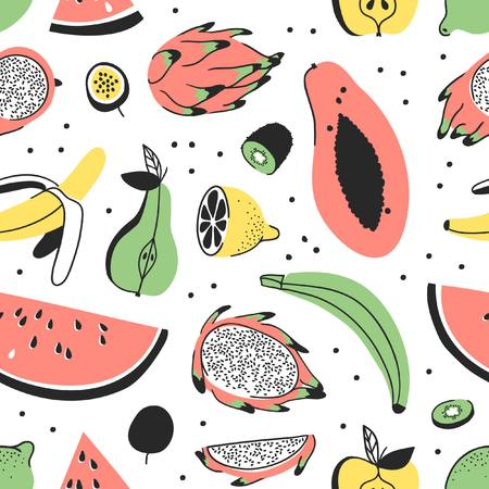 Hand drawn set of tropical fruits. Vector artistic seamless pattern with food. Summer illustration watermelon, banana, papaya, pitaya, pear, apple, lemon, passion fruit and kiwi