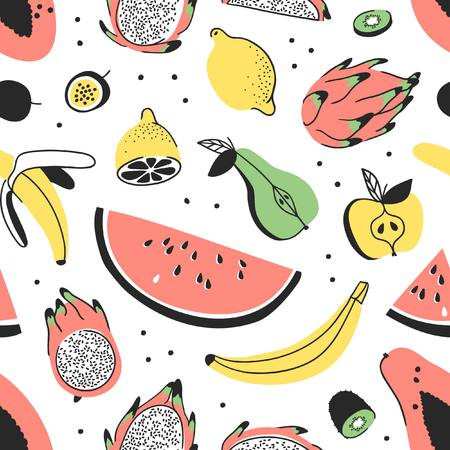 Hand drawn set of tropical fruits. Vector artistic seamless pattern with food. Summer illustration watermelon, banana, papaya, pitaya, pear, apple, lemon, passion fruit and kiwi