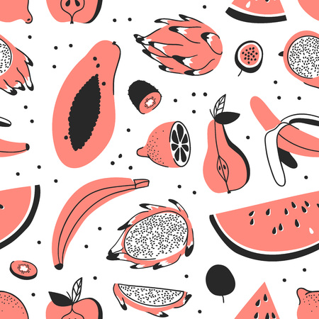 Hand drawn set of tropical fruits. Vector artistic seamless pattern with food. Summer illustration