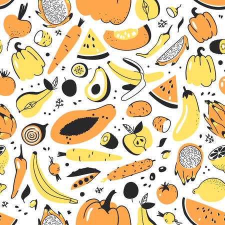 Hand drawn seamless pattern with fruits and vegetables. Vector artistic illustration food. Vegan drawing