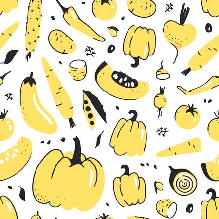 야채와 함께 손으로 그린 원활한 패턴입니다. 벡터 예술적 드로잉 음식입니다. 여름 그림 스톡 콘텐츠 - 89864428