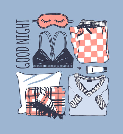 Hand drawn fashion illustration. Creative ink art work. Actual vector drawing. Night set, bra, plaid, pajamas, mask