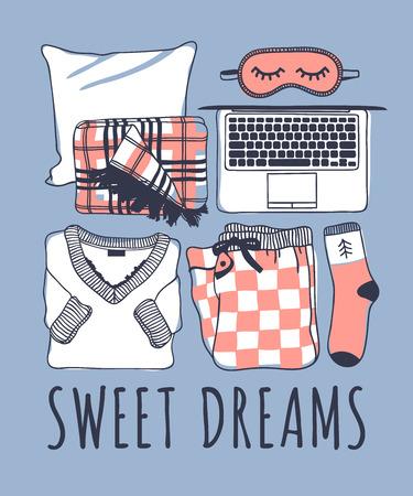 Hand drawn night fashion illustration. Creative ink art work. Actual vector drawing. Cozy set, plaid, mask, laptop, pajamas, sock Ilustração