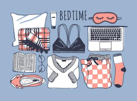 Hand drawn cozy fashion illustration. Creative ink art work. Actual vector drawing. Night set, plaid, bra, laptop, mask, book, pajamas, sock