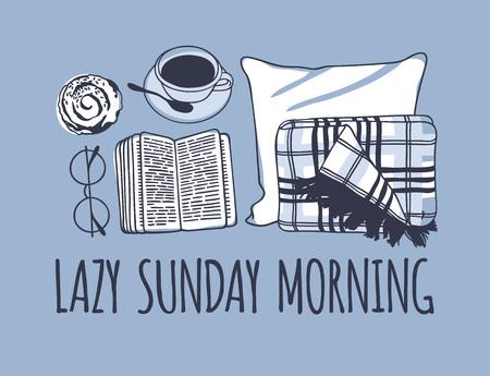 손으로 그린 된 아침 패션 그림입니다. 창조적 인 잉크 아트 작품. 실제 벡터 그리기. 아늑한 세트, 격자 무늬, 책, 커피