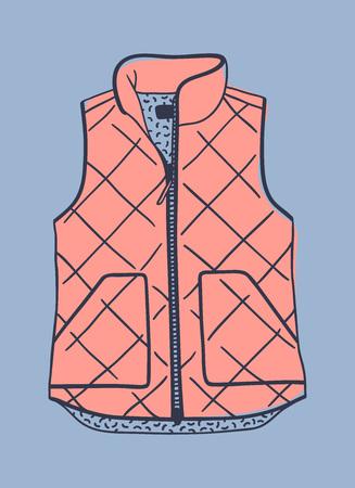 Hand drawn fashion illustration. Creative ink art work. Actual vector drawing blown vest Stock fotó - 90855102