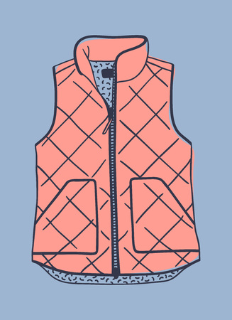Hand drawn fashion illustration. Creative ink art work. Actual vector drawing blown vest