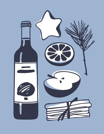 Hand getekende illustratie. Creatief inktkunstwerk. Werkelijke vector tekening. Glühweinenset, fles, sinaasappel, appel, kaneel, peperkoek Stockfoto - 90855185