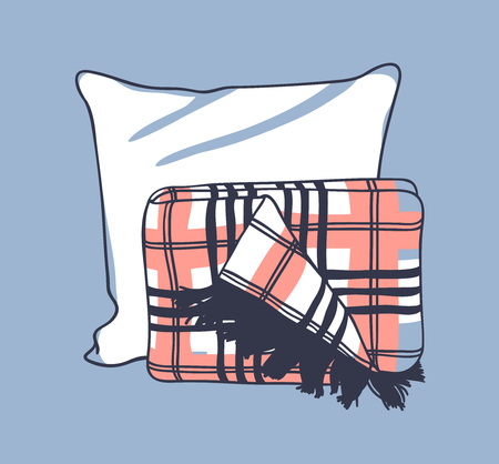 Hand drawn illustration pillow and plaid. Creative ink art work. Actual vector drawing sleeping set