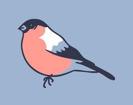 Hand drawn illustration winter bird. Creative ink art work. Actual vector drawing