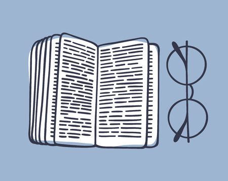 手描きのイラスト。創造的なアート作品。実際のベクトルを描画します。本とメガネ