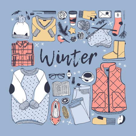 Hand drawn fall fashion illustration. Creative ink art work. Actual vector drawing. Winter set, wear, shoes, accessories, food, drinks, things
