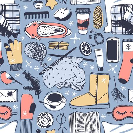 Hand getrokken mode illustratie. Creatieve inktkunstwerken. Werkelijke gezellige vectortekening. Winter naadloze patroon met boek, koffiekopje, telefoon, slaap masker, bril, kaneel