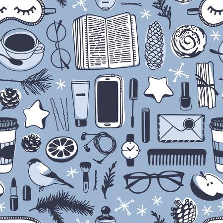 손으로 그린 패션 그림입니다. 창조적 인 잉크 아트 작품. 실제 아늑한 벡터 드로잉입니다. 책, 커피 컵, 전화, 수면 마스크, 안경, 계 피 겨울 원활한 패