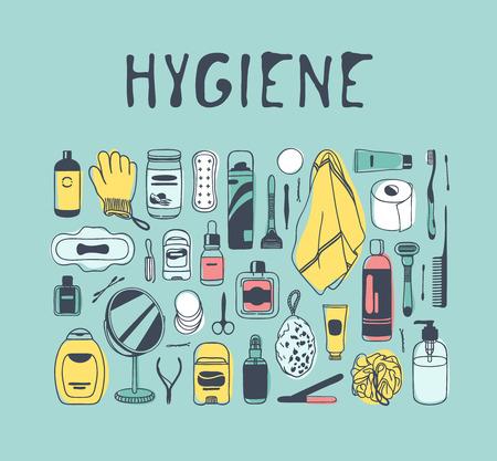 Hand drawn hygiene illustration. Creative ink art work. Actual vector bath drawing