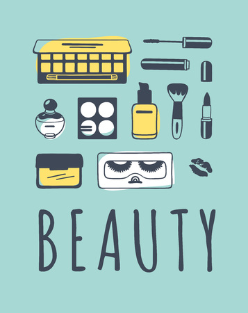 Hand drawn illustration beauty products . Creative ink art work. Actual vector makeup drawing