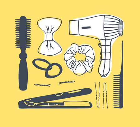 Hand drawn illustration hair tools . Creative ink art work. Actual vector drawing comb. hair dryer, barrette