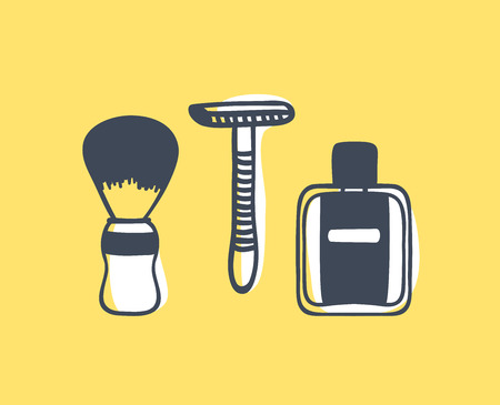 Hand drawn illustration tools for shaving. Creative ink art work. Actual vector barbershop drawing