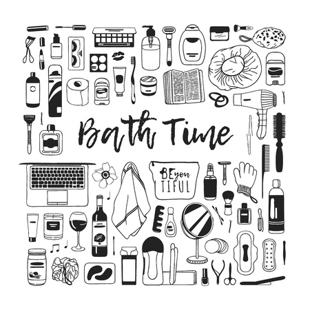Hand drawn illustration beauty products. Actual vector bath drawing