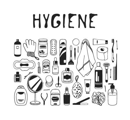Hand drawn hygiene illustration. Actual vector bath drawing Illustration